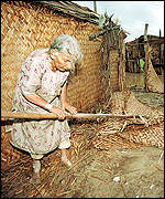 [ image: A Gharo resident collects the remains of her home]