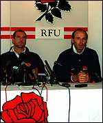 [ image: Coach Clive Woodward (right) is backing Dallaglio to return]
