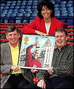 [ image: Martin Peters, Stephanie Moore and Sir Geoff Hurst launch the stamps]
