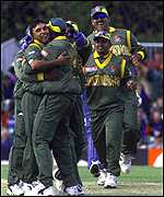 [ image: Khaled Mahmud celebrates taking the wicket of James Brinkley]