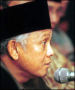 [ image: His successor  BJ Habibie is the ruling Golkar Party's candidate]