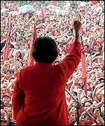 [ image: Megawati Sukarnoputri addresses a crowd of PDI supporters]