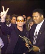 The Irish singer Bono and Mohammed Ali support the campaign