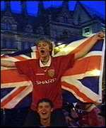 [ image: Fans danced in the streets of Manchester after the dramatic victory]
