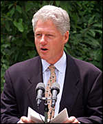 [ image: President Clinton's approval rating has reached a new low]