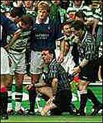 [ image: Hugh Dallas was hit by a coin during a stormy Old Firm encounter]