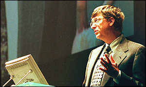 Bill Gates delivering a talk