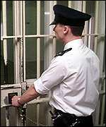 prison officer locking gate