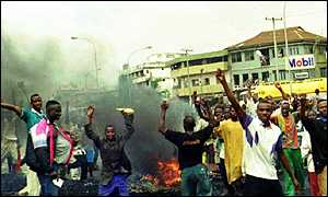 Nigerians rioting after Abiola's death.