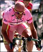 [ image: Pantani in the leader's pink jersey earlier in the race]