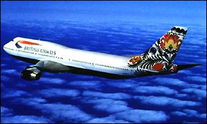 Jumbo jet with ethnic logo