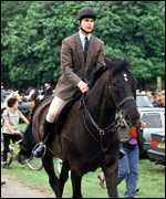 [ image: Prince Edward enjoys sports and regularly appeared at Badminton horse trials]