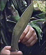 [ image: The Gurkhas' traditional weapon is the lethal kukri]