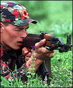 [ image: Serbs fear possible attacks by KLA guerrillas]