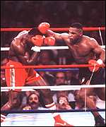 [ image: Mike Tyson defeats Britain's Frank Bruno during his 1980s peak]