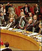 [ image: Sanctions were approved by Security Council in March 1992]