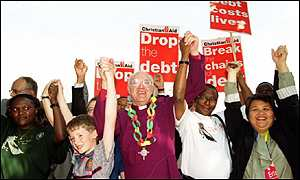 bbc news uk debt protesters link arms