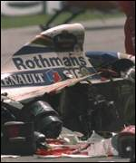 [ image: Senna's crash left Hill leading the Williams team]