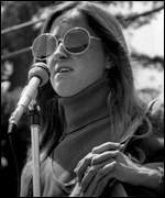 [ image: Kathy Soliah speaking in Berkeley in 1974]