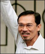 [ image: In April Mr Anwar was sentenced to six years for corruption]