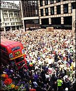 [ image: Thousands crammed into the Square Mile to take part in the demonstration]