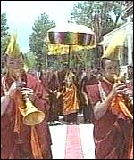 [ image: The Panchen's return was greeted with traditional Tibetan horns]