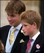 [ image: Prince William with his brother Harry at the wedding]