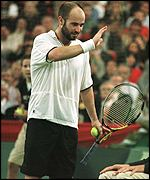 [ image: Agassi: Bidding for another grand slam title]