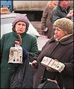 [ image: Ordinary Russians have been forced to sell belongings to raise money]