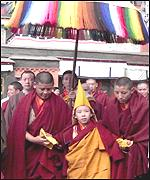 [ image: The boy leader urged Tibetans to obey the Chinese president]