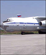 [ image: The Russian plane was first to land at Pristina]