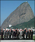 [ image: Delegates posed in front of Rio de Janeiro's famous