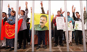About 1,000 Ocalan supporters protest at the Place de la Concorde in Paris