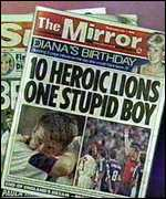 [ image: The press's verdict on Beckham's sending-off]