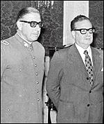 [ image: Pinochet (left) seized power a month after Allende made him head of the armed forces]