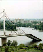 [ image: Nato hit many strategic targets, such as this bridge in Novi Sad]