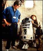 [ image: Lucas with Jake Lloyd on the set of the film]