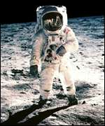 Astronaut on moonwalk