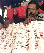 Supporters make their mark - in blood - in favour of a Megawati presidency