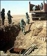 [ image: Inspectors destroy Sarin-filled shells in 1998 in Iraq]