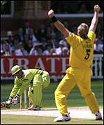 [ image: Match flashback: Australia's Shane Warne sees off Pakistan's Moin Khan]
