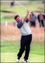 [ image: Nick Faldo suffering on the sixth]