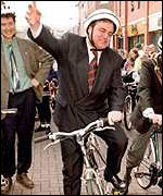 [ image: John Prescott: wants to double the number of cyclists by 2005]