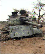 Destroyed tank on the Ethiopian  front