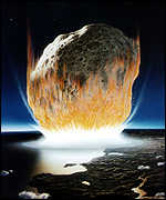 [ image: An asteroid bigger than a mile across might hit Earth once every 100,000 to one million years]
