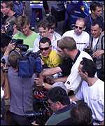 [ image: Media circus: Armstrong has brushed with controversy in the 1999 Tour]