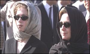 [ image: Hilary Clinton, wife of the president, and her daughter Chelsea joined mourners from around the world.]