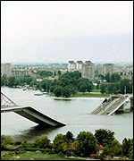 [ image: Nato targetted the bridges along the Danube]