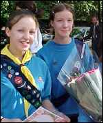 [ image: Girl Guides Bethan Sayer, 14, and Teri-Ann Downes, 13, came from Worcestershire for the day]
