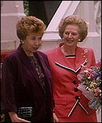 [ image: Mrs Gorbachev accompanied her husband on a visit to the UK in 1991]